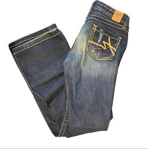 BKE dark denim Kate blue jeans with factory stitching distressed details size 28